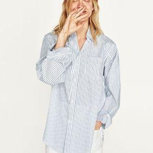 Zara Woman Light Blue Striped Oversized Shirt XS